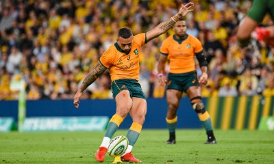Quade Cooper kicks for goal